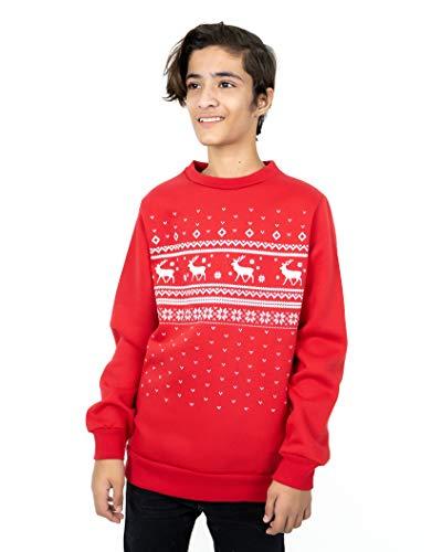 NOROZE - Jerséis de Navidad a juego para hombre y niño, con diseño de renos y elfos y textos como «Let It Snow», unisex, para familia, para papá e hijo