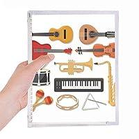 エレクトリック・ピアノ・トロンボーンのギター音楽 硬質プラスチックルーズリーフノートノート