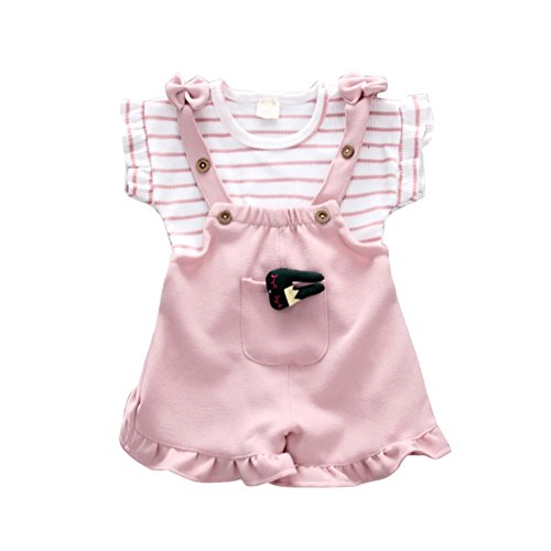 Baywell Enfants Bébé Filles Vêtements Set, Straps Combinaisons Shorts + Mignon À Manches Courtes Haut Costume Costume Onesie 2pck (S/6-12 Mois, Rose)