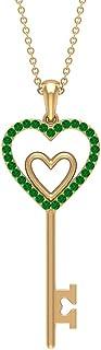 قلادة متدلية على شكل قلب مزدوج 1/4 قيراط زمرد مصنوع (جودة AAAA)