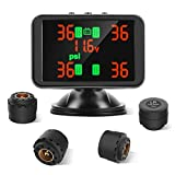 Tymate TPMS Wireless Monitoring System, 3.7inch LCD Screen Displays 4 Tires' Pressure and Temperature, 4pcs...