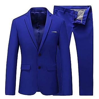 UNINUKOO Mens Two Piece Slim Fit Casual 2 Button Suit Wedding Business Solid Suit Jacket& Suit Pants US Size 40  Label Size 4XL  Colored Blue