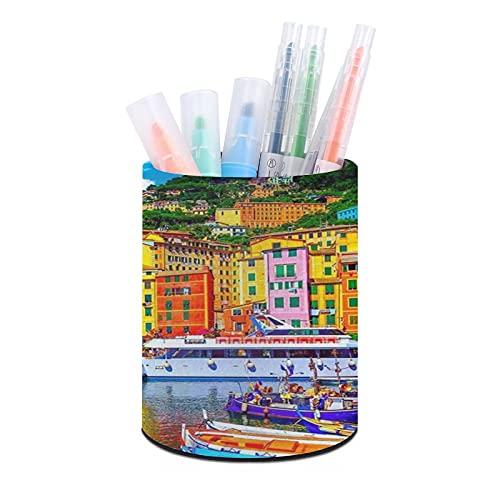 Viejo puerto de Camogli, Génova, Italia soporte para bolígrafos, organizador de escritorio, organizador de escritorio y accesorios