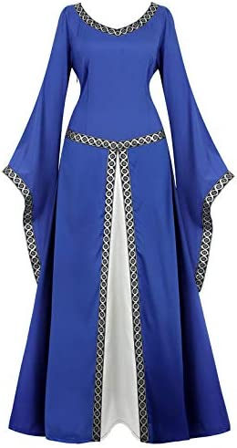 Womens Irish Medieval Dress Renaissance Costume Retro Gown Cosplay Costumes Fancy Long Dress product image