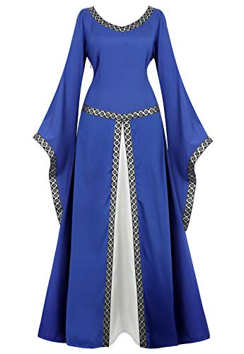 Womens Irish Medieval Dress Renaissance Costume Retro Gown Cosplay Costumes Fancy Long Dress Light Blue-XL