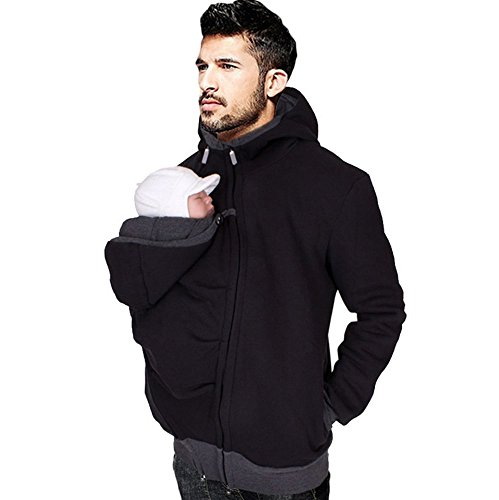 Men's Kangaroo Hoodie for Dad and Baby Carrier Coat Baby Carriers Sweatshirt Pullover (L) Black