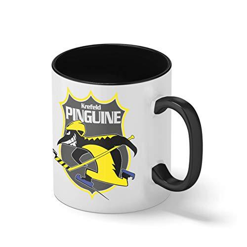 Krefeld Pinguine Eishockey Mannschaft Teamgeschenk Schwarze Innenseite mit passendem Henkelbecher Mug| Lustige Neuheitstassen für Kaffee-Tee 312ml