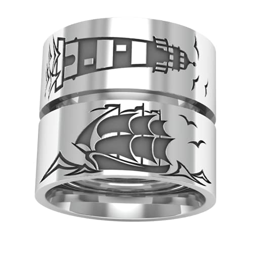 Sterling Silver Recommendation High material Lighthouse and Ring Sailboat S