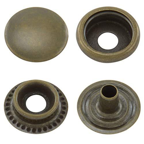 GETMORE Parts Druckknöpfe Ringfeder, Ring-Feder-Buttons, R-Feder-Snaps, Messing, rostfrei, vierteilig - ab 50 Stück, antik, 15 mm