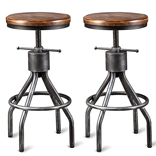 Set of 2 Industrial Bar Stool-Vintage Counter Dining Chair-Swivel Stools-Tall Height Adjustable 22-33