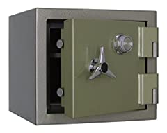 """2 Hour Fire Rated At 1850°F (1010°C)  (2 ) 1 1/4"""" Chrome Plated Active Locking Bolt Full Length Interlocking Channel on hinge Side and (2 ) Heavy Duty External Hinges - Door swings +180°--(1) Adjustable, Removable Shelf and Chrome Plated 3 Spoke Hand..."""