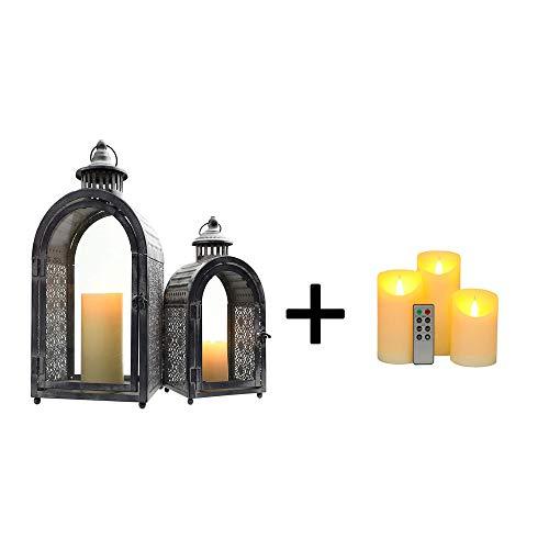 JHY DESIGN Set of 2 Antique Grey Decorative Lanterns Metal Candle Lanterns