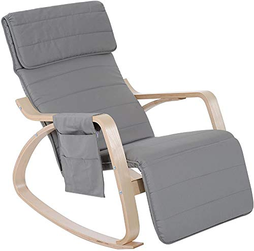 Adjustable footrest, Side Pockets and Cushions Wooden Rocking, Rocking, Chairs, upholstered Chair Comfortable Recliner,Grey