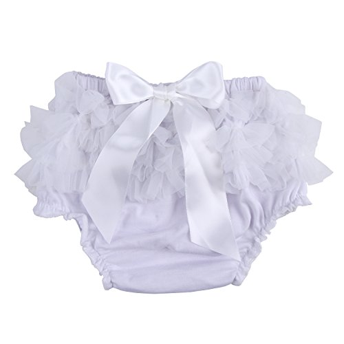 ICObuty Baby Girls Ruffle Bloomer Diaper Cover for Baby Girls Toddlers (Middle(7-12month), White)