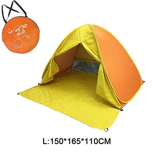 Mdsfe Beach Camping Tent Pop Up Automatic Open Family Ultralight Folding Tourist Fish Anti-UV Fully Sun ShadeTent 2-5 Persons XA164A-Yellow WL