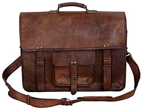 Leidenschaft des Komal Leder 40,6cm Vintage Erscheinungsbild Leder Laptop Messenger Aktentasche Umhängetasche