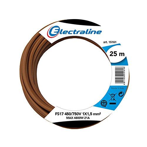 Electraline 13082Cable unipolar FS17, sección 1x 1.5mm², Marrón, 25m