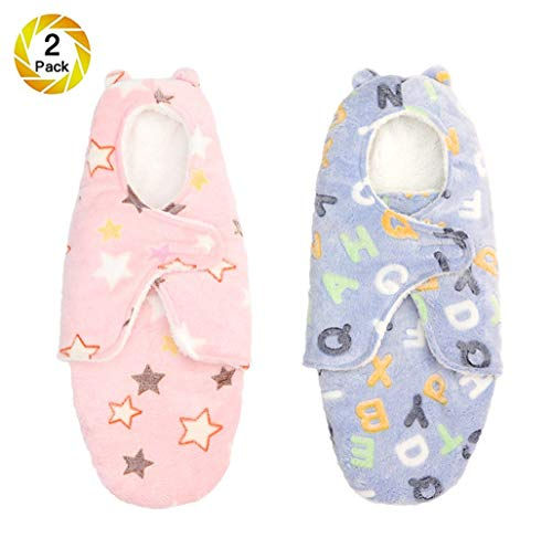 Baby Swaddle Thick Wrap Sack Blanket With Hat Boy Girl, Newborn Velvet Swaddling, Infant Sleeping Bag Swaddle Pouch, Autumn & Winter, 0-8M,C2, S