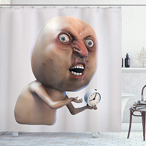 ABAKUHAUS Humor Duschvorhang, Warum du kein schläfriges Meme, mit 12 Ringe Set Wasserdicht Stielvoll Modern Farbfest & Schimmel Resistent, 175x220 cm, Tan