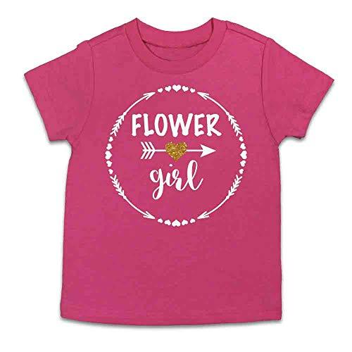 Flower Girl Shirt Flower Girl Gift Flower Girl Tee Flower Girl Top (Youth Medium 10-12, Hot Pink)