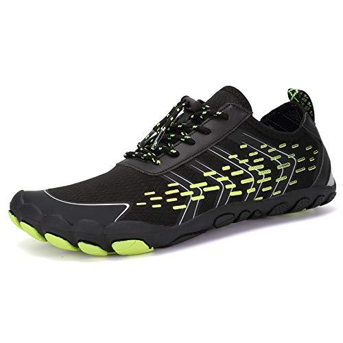 Deportes Acuáticos Calzado de Natación Unisex Zapatos de Agua Secado Rápido Respirable Water Shoes Escarpines Nadada de la Playa de la Resaca de la Yoga(O.Verde Negro,43EU)