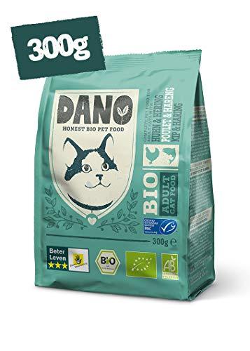 DANO Bio-Katzenfutter, Trocken - Getreidefreies Trockenfutter mit Bio-Huhn, MSC-Hering, Erbsen Nessel für Katzen - Gesunde Ernährung Vollnahrung für Erwachsene Katzen - 300g