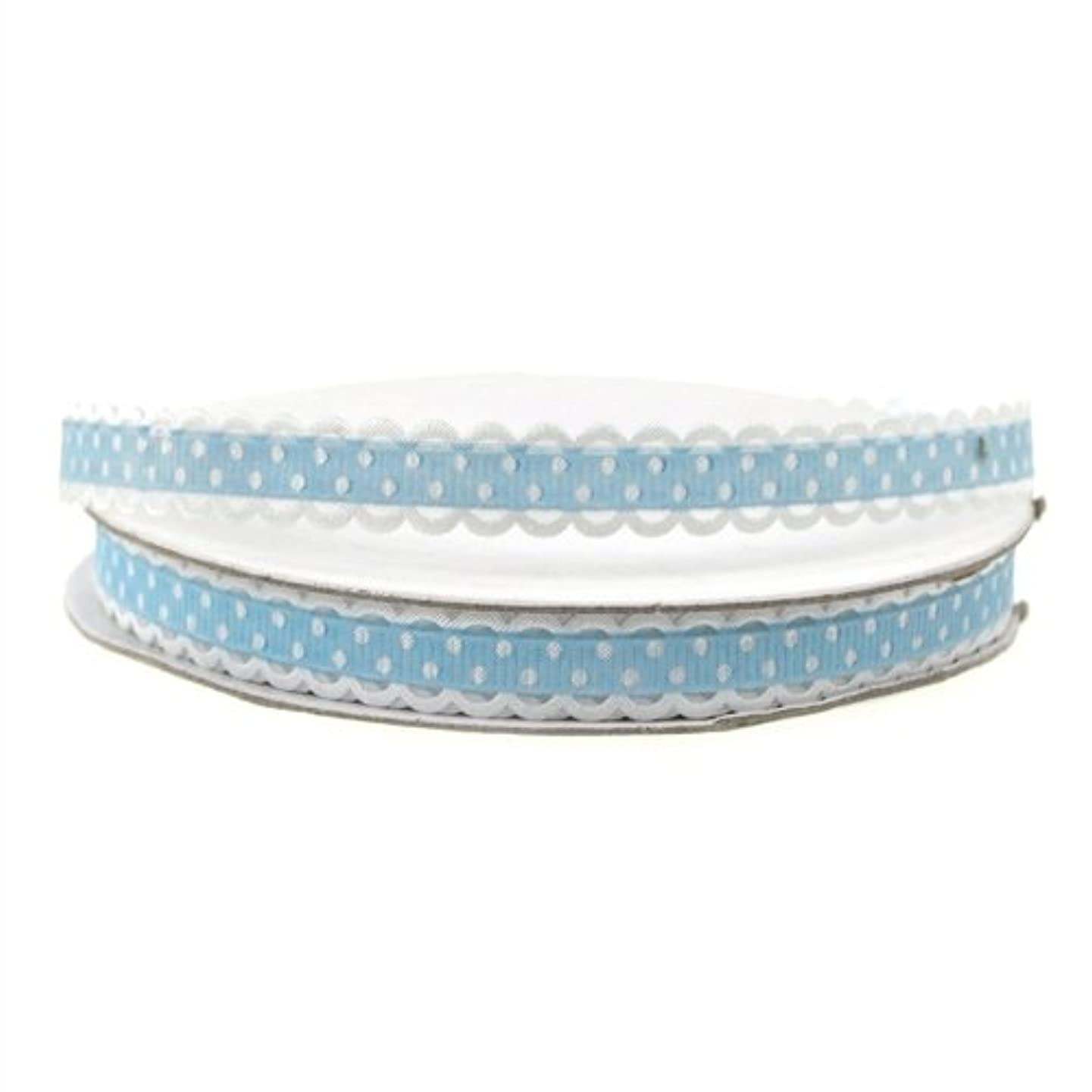 Homeford Firefly Imports Polka-dot Polyester Ribbon Scalloped-Edge, 3/8-Inch, 25 Yards, Light Blue, 3/8