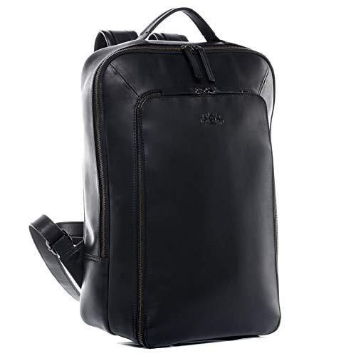 SID & VAIN Laptoprucksack echt Leder Dylan groß Kurierrucksack Laptoprucksack Backpack Tagesrucksack Laptopfach 15.6