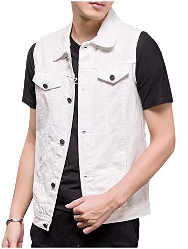 Kedera Men's Sleeveless Denim Vest Button-Down Trucker Jean Jacket White