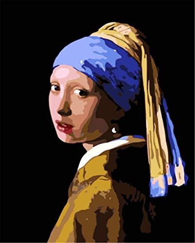 Kit de pintura por números para adultos, kit de regalo de pintura al óleo para adultos, principiante, con pendientes de perlas, 40 x 50 cm, sin marco