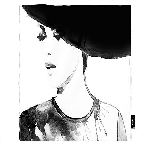 Seemuch Manta para mujer, con diseño de cara en sombrero, con pestañas largas, pintura de labios, suave y cálida, de franela para dormitorio, oficina, hogar, sofá, cama, 122 x 152 cm