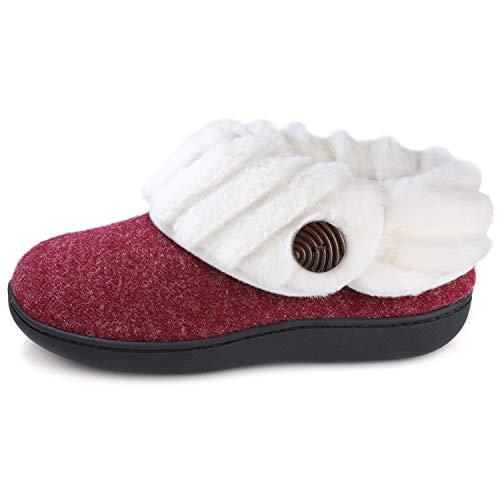 Wishcotton - Zapatillas de Espuma viscoelástica para Mujer (Forro de Fieltro, Antideslizante), Rojo (Vino), 42 EU