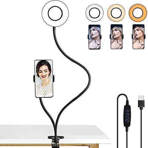 LEDGLE Anillo de luz LED de 5 W con soporte para teléfono móvil, anillo de luz con 1600 K, 3000 K, 6000 K