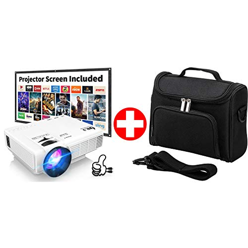 DR. J Professional HI-04 Mini Projector for Outdoor Movies & Universal Portable Projector Case Bundle