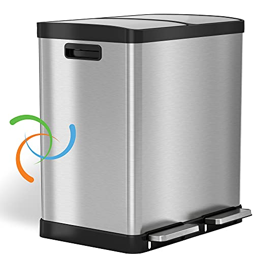 Product Image of the iTouchless 16 Gallon Dual Step Trash Can & Recycle, Stainless Steel Lid and Bin Body with Handle, Includes 2 x 8 Gallon (30L) Removable Buckets are Color-Coded, Soft-close and Airtight Lid