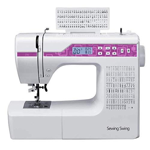 Máquina de coser de metal, color blanco y rojo, tamaño completo, máquina de coser con 200 programas de puntada (Purple)