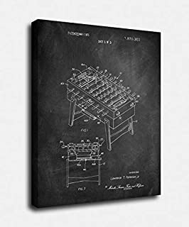PrintFactory Canvases Foosball Patent Premium Wall Canvas Art Print in Black Chalkboard for Room, Kitchen and Living Room Decoration 18x24 [SA19C]