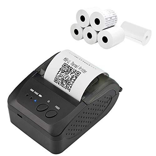 Kacsoo Impresora Térmica de Tickets, Impresora Bluetooth con Papel de Etiquetas Impresora Térmica Portátil Apoyo Windows/iOS/Android Adecuado para la Tienda de Ropa de Supermercado Restaurantes