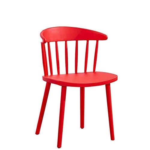 YLCJ Sillas de Comedor con Respaldo bajo de husillo Windsor Silla de Comedor nórdica PP Silla de Mesa de plástico para Comedor Sala de Estar Dormitorio Cocina-Rojo