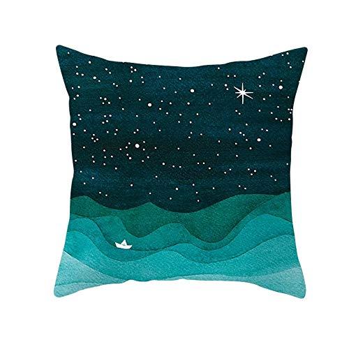 Funda de Cojín Decorativos Funda de Almohada Dibujado a mano cielo estrellado Cuadrado Terciopelo Suave Cojines Decor con Cremallera Invisible para Sofá Decor Funda de Cojín M6634 Pillowcase,45x45cm