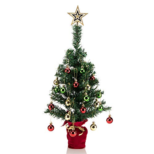 blitzlabs 24'' Mini Christmas Tabletop Tree Artificial Display with Gold Star Treetop, Hanging Ornaments for Indoor DIY Christmas Holiday Decoration