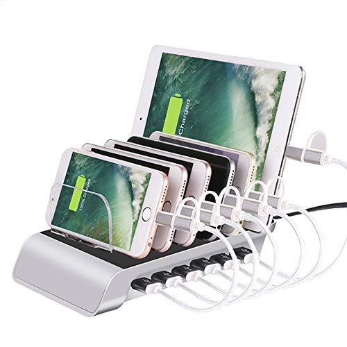 Estación de carga multi USB Escritorio 6 puertos QC 3.0 Rápido Cargador rápido Pantalla Organizador de cables USB para múltiples dispositivos iPhone 12/11 / XS / XR / X Samsung S20 / S10 / S9 / S8