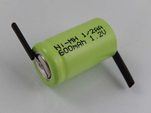 vhbw 1/2AA NI-MH Akku-Zelle 600mAh (1.2V) Z-Lötfahne passend für Modellbau, Solarleuchten, Telefon, etc.