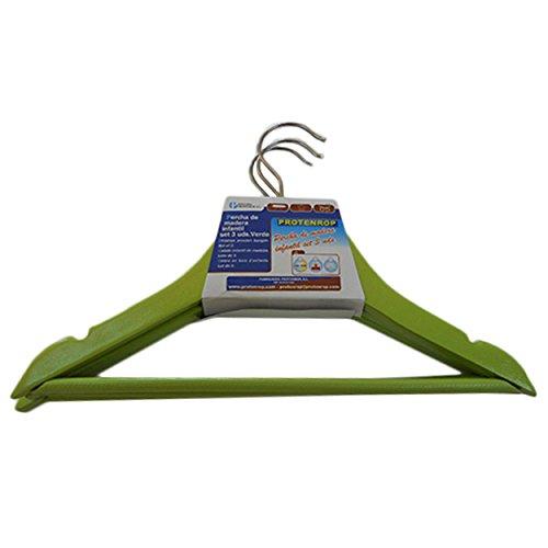 Protenrop 2830448 - Appendiabiti Verde per i Bambini Carica di 3 unità.