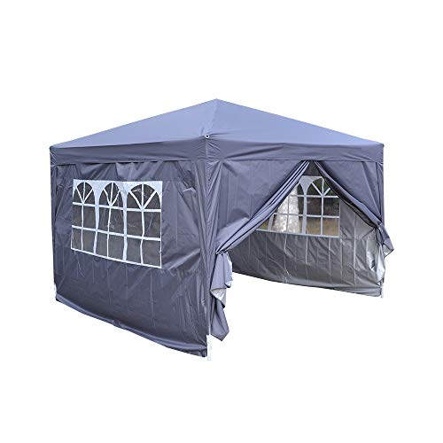 Sproutor 2-3m Pop Up Gazebo, Waterproof, with Side Panels and Carry Bag (3 x 3 m, Grey)