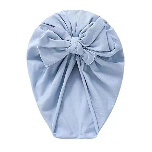 PHILSP Sombrero de bebé Algodón Nudo de Lazo para el Cabello Sombrero de Turbante de bebé Nudo de Oreja Grande Gorros de Gorrita Tejida para niños pequeños Azul