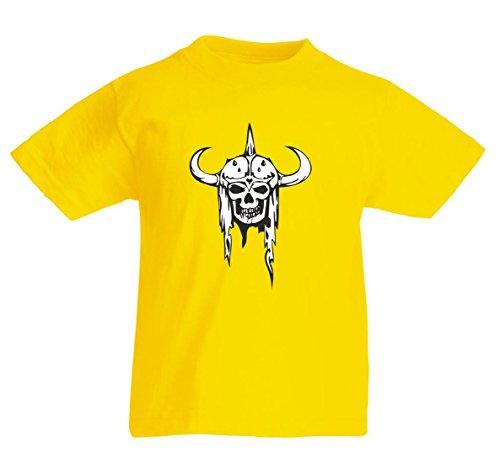 Camiseta de calavera vikinga con casco de cuerno, esqueleto, rocker, club de...