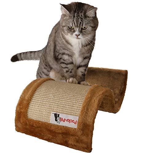 Pocky- Pet Kratzwelle für Katzen, Kratzbaum 50 x 29 x 18 cm, Kratzmatte in Wellenform, beige-braun Sisal, Krallen wetzen Kratzmöbel