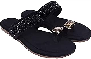 SWS Kolhapuri Silk Ribbon Sandals For Womens/Girls