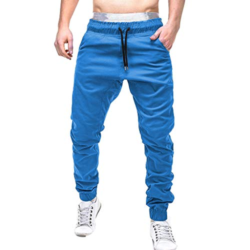 Stretchy Trainingshose Herren Einfarbig Jogginghose Taschen Slim Hosen Lockere Freizeithose GreatestPAK,Blau,2XL (Taille:70-80cm)